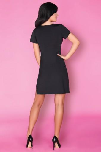 Elegancka czarna koszulka nocna z krótkim rękawem