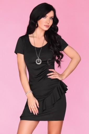 Ołówkowa sukienka mini z falbanką