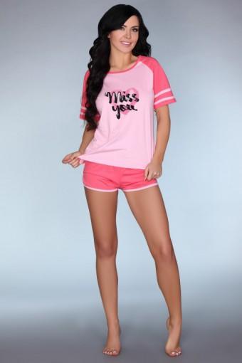 Różowa piżama z krótkim rękawem