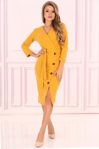 Żółta sukienka midi
