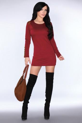 Bordowa sukienka mini