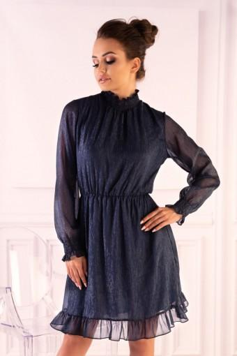 Granatowa sukienka z tiulowymi rękawami