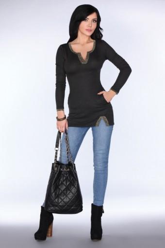 Dzianinowa tunika czarna