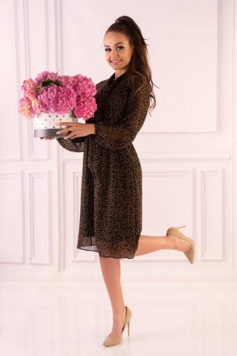 Brązowa sukienka szyfonowa w groszki