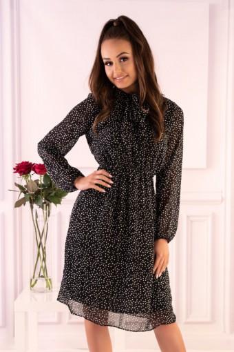 Czarna sukienka szyfonowa w groszki