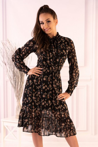 Sukienka tiulowa midi z falbanką na dole