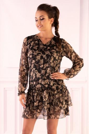 Brązowa sukienka szyfonowa w kwiaty