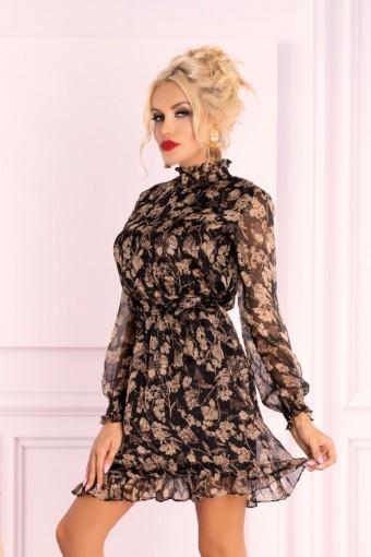 Brązowa sukienka szyfonowa mini