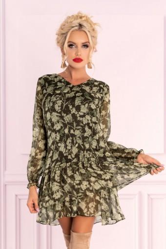 Zielona sukienka szyfonowa w kwiaty