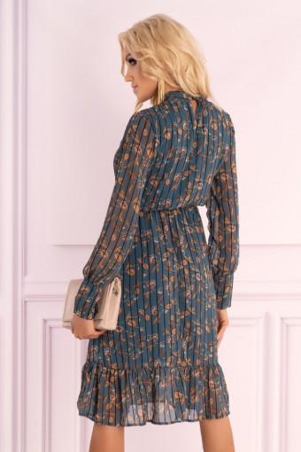 Tiulowa sukienka midi z falbanką na dole