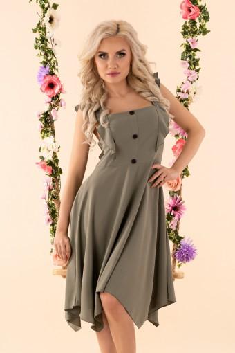 Sukienka asymetryczna na ramiączkach khaki
