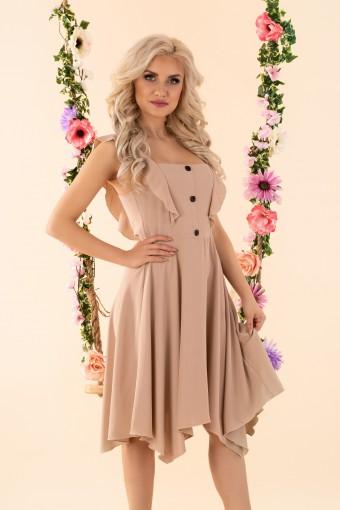 Beżowa sukienka asymetryczna na ramiączkach