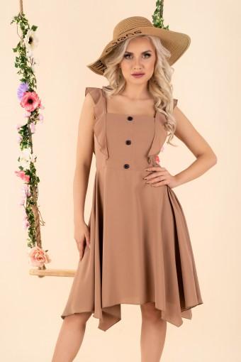 Brązowa sukienka asymetryczna na ramiączkach