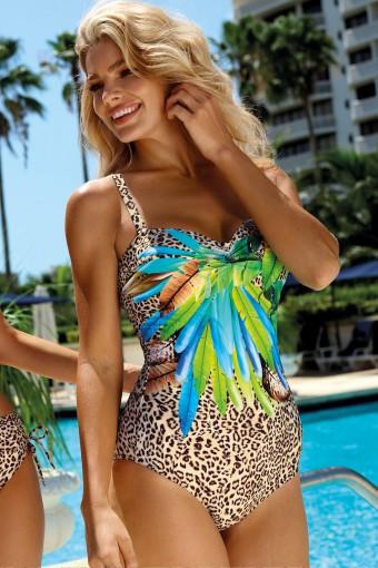 Jednoczęściowy strój kąpielowy z panterką
