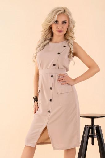 Beżowa sukienka midi na ramiączkach