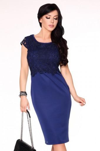 Ołówkowa sukienka midi z koronkową górą