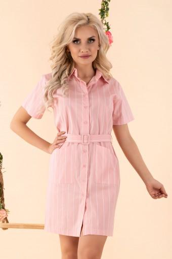 Różowa sukienka koszulowa w paski