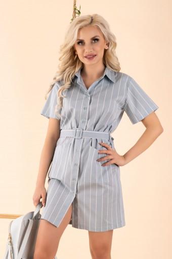 Miętowa sukienka koszulowa w paski