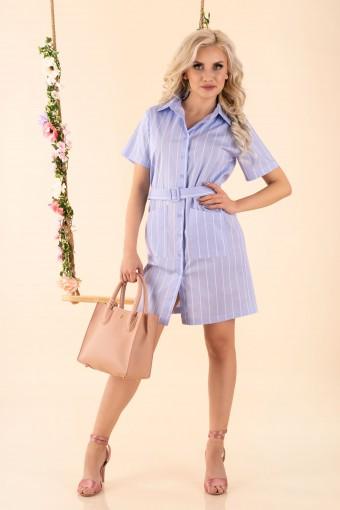 Niebieska sukienka koszulowa w paski