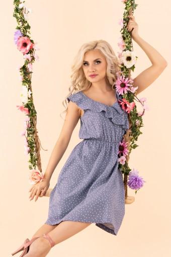 Niebieska sukienka do kolan rozkloszowana