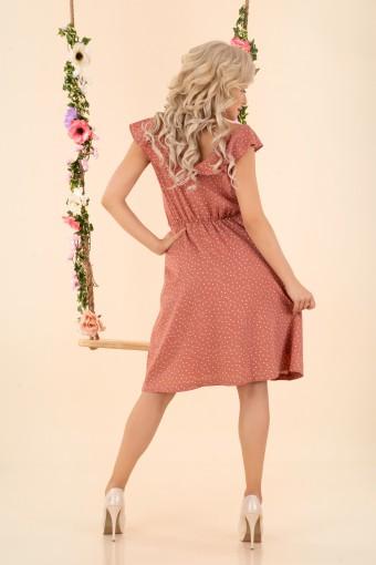 Sukienka do kolan rozkloszowana brudny róż