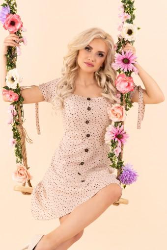 Beżowa sukienka w groszki z prostokątnym dekoltem