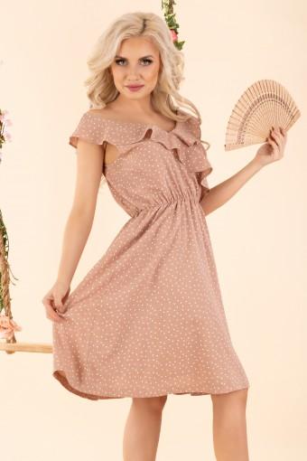 Beżowa sukienka do kolan rozkloszowana