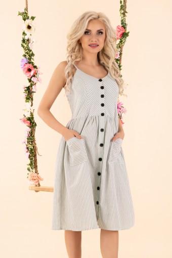 Miętowa sukienka w paski na ramiączkach