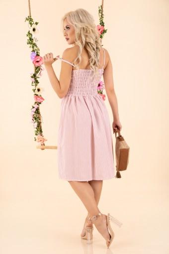 Różowa sukienka w paski na ramiączkach