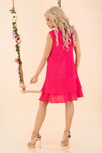 Sukienka trapezowa z falbankami fuksja