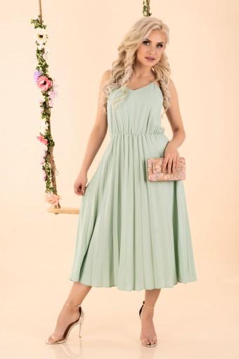 Plisowana sukienka midi miętowa