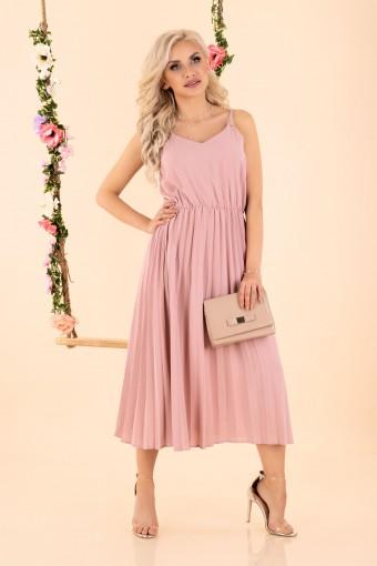 Plisowana sukienka midi różowa