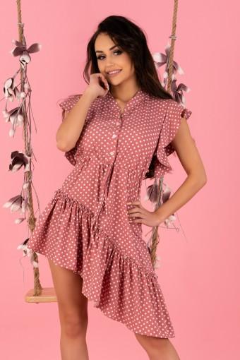 Różowa sukienka asymetryczna w grochy