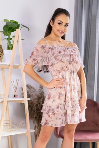 Zwiewna sukienka tiulowa w kwiaty