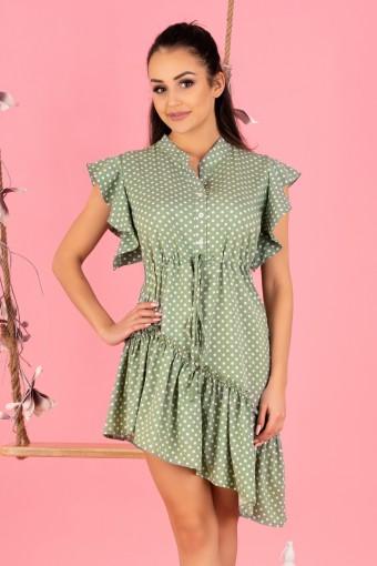 Zielona sukienka asymetryczna w grochy