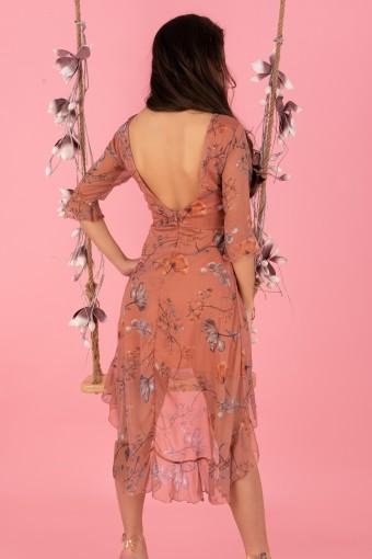 Asymetryczna sukienka z tiulowym dołem