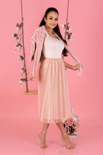 Tiulowa spódnica midi różowa