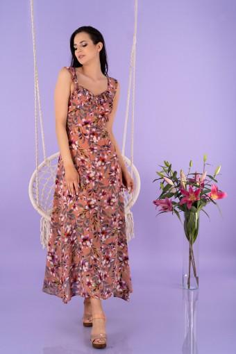 Sukienka maxi w kwiaty na ramiączkach