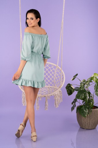 Miętowa sukienka hiszpanka