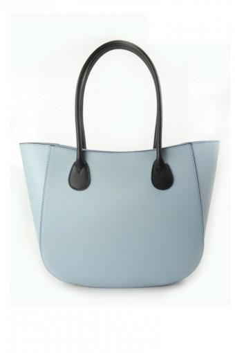 Błękitna torebka skórzana shopper
