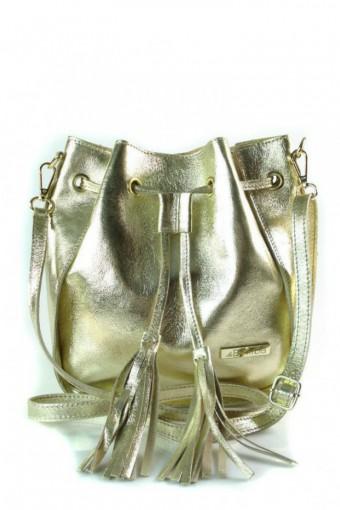 Skórzana torebka listonoszka worek złota