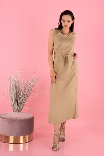 Sukienka midi z wiązaniem w pasie