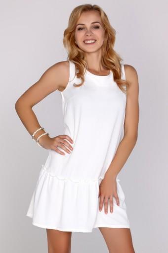 Biała sukienka z falbanką