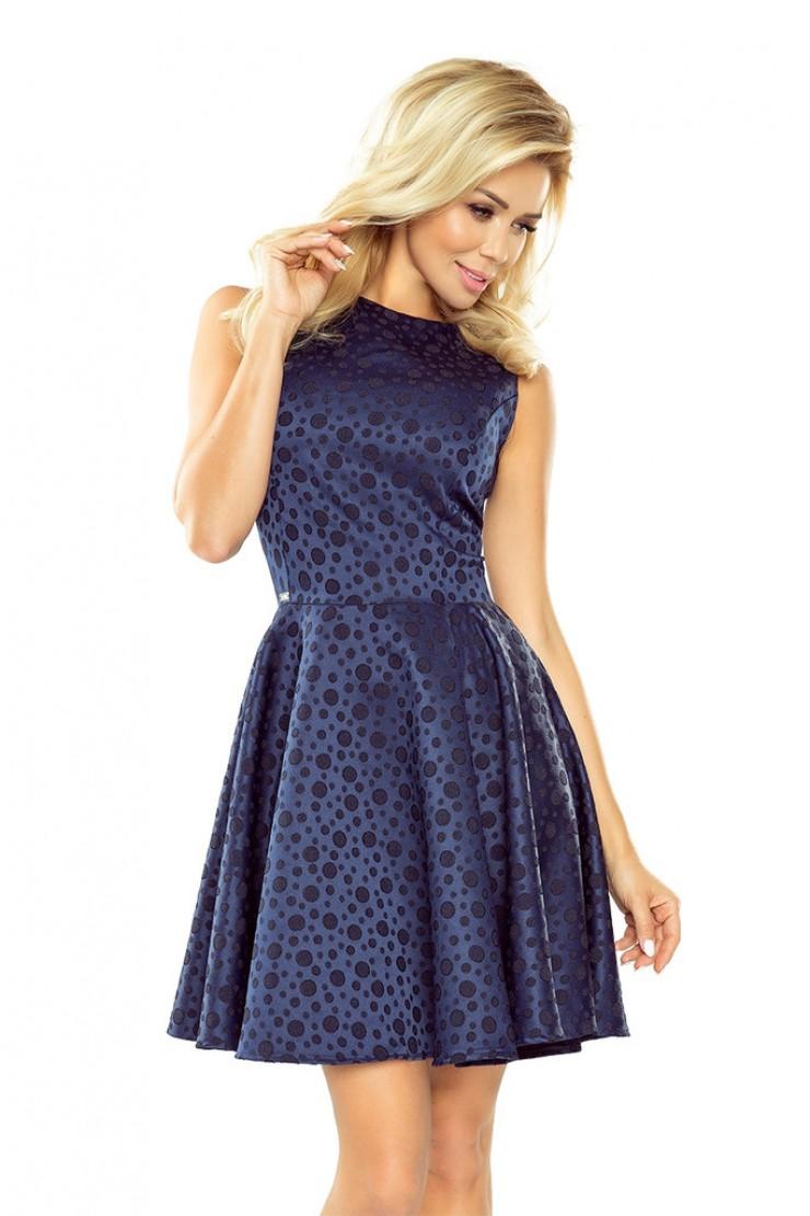 Granatowa sukienka rozkloszowana bez rękawów