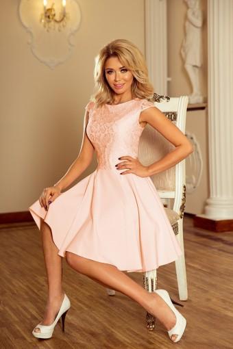 Rozkloszowana sukienka z koronkową górą brzoskwiniowa
