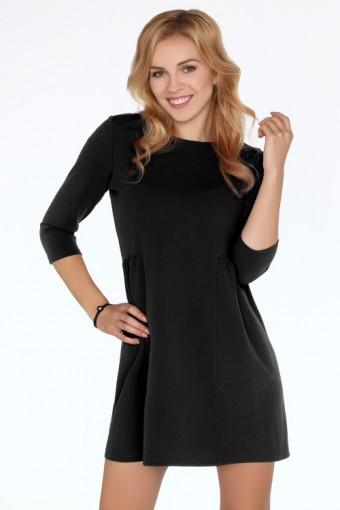 Czarna sukienka lekko rozkloszowana