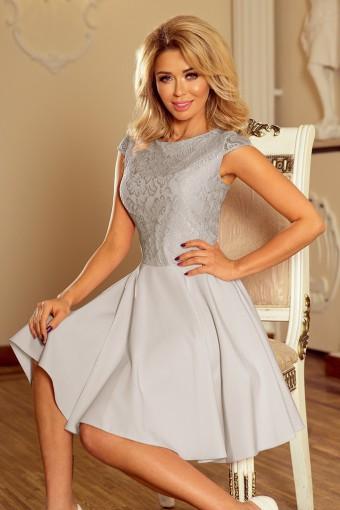 Rozkloszowana sukienka z koronkową górą szara