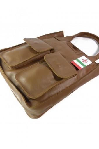 Brązowa torebka worek skórzany
