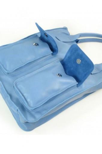 Błękitna torebka worek skórzany