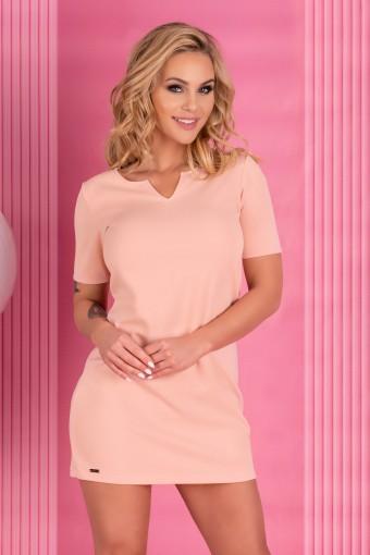 Różowa sukienka mini z krótkim rękawem